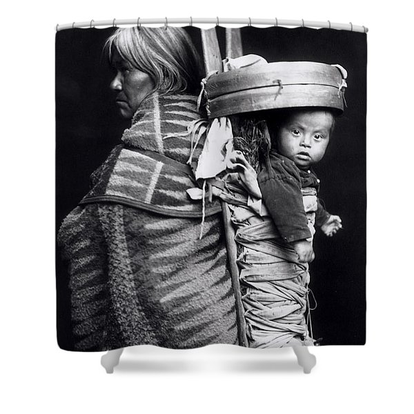 Navaho Woman Carrying A Papoose On Her Back Shower Curtain