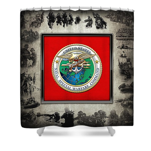 Naval Special Warfare Command - N S W C - Emblem  Over Navy Seals Collage Shower Curtain