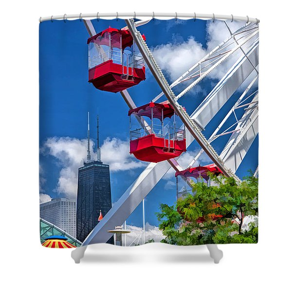 Chicago Navy Pier Ferris Wheel Shower Curtain