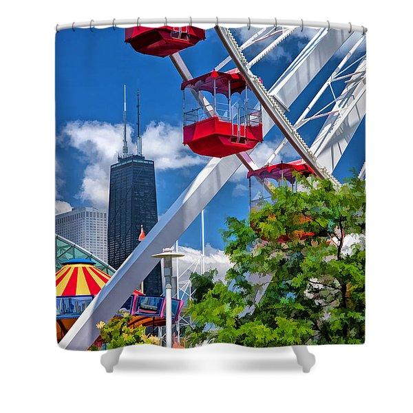 Chicago Navy Pier Ferris Wheel Shower Curtain
