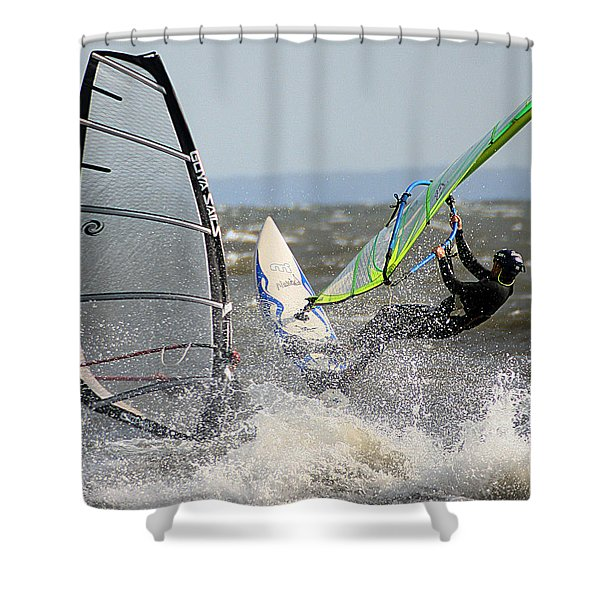 Shower Curtain featuring the photograph Near Miss by William Selander