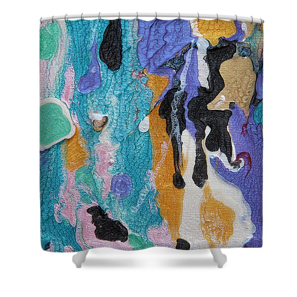 Near Sea Colorful Abstract Painting Shower Curtain