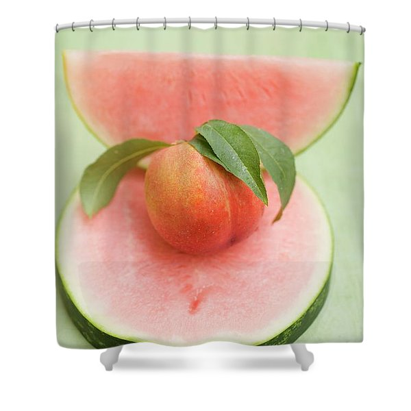 Nectarine With Leaves, Slice And Wedge Of Watermelon Shower Curtain