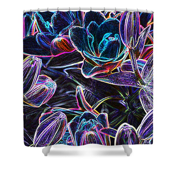 Neon Lilies Shower Curtain
