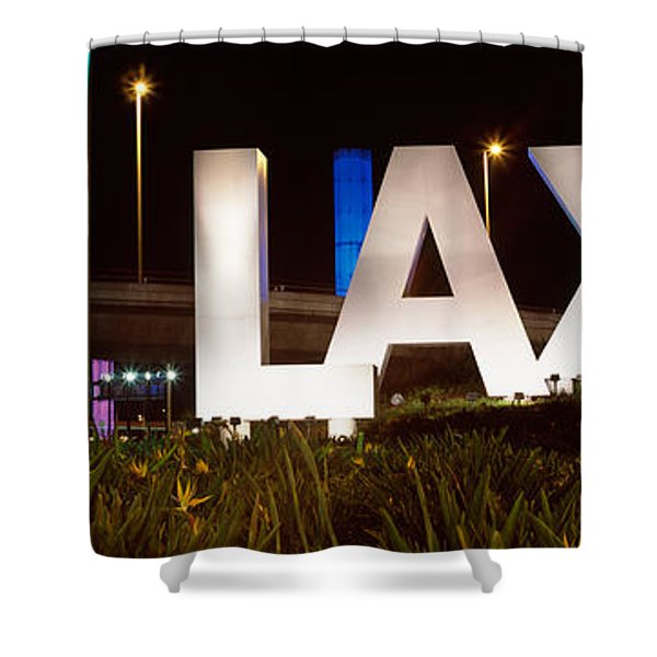 Neon Sign At An Airport, Lax Airport Shower Curtain