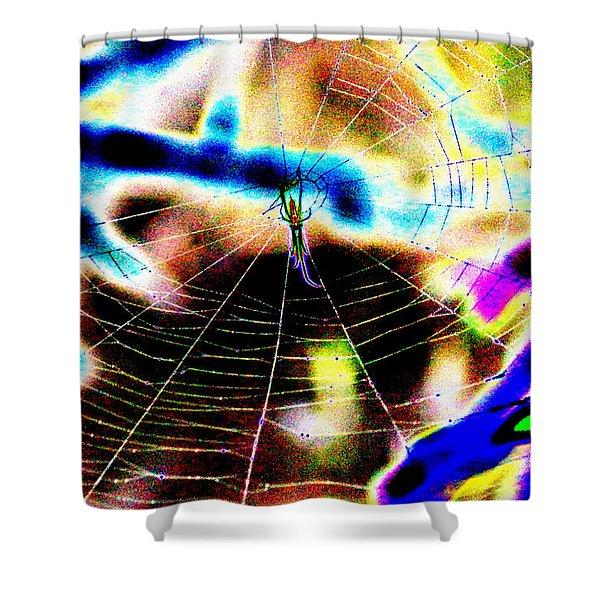 Neon Spider Shower Curtain