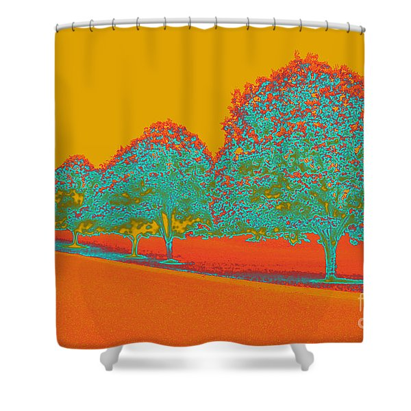 Neon Trees In The Fall Shower Curtain