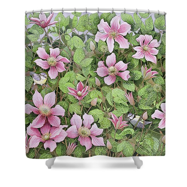 Nesting In Clematis Oil On Canvas Shower Curtain