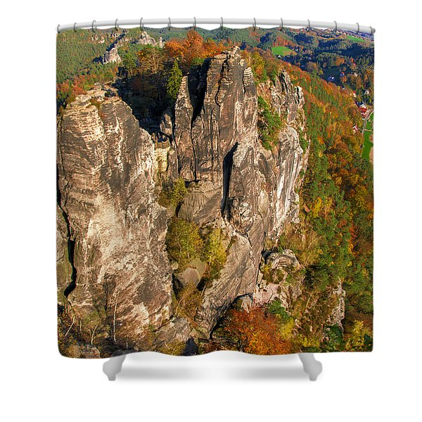 Neurathen Castle In The Saxon Switzerland Shower Curtain