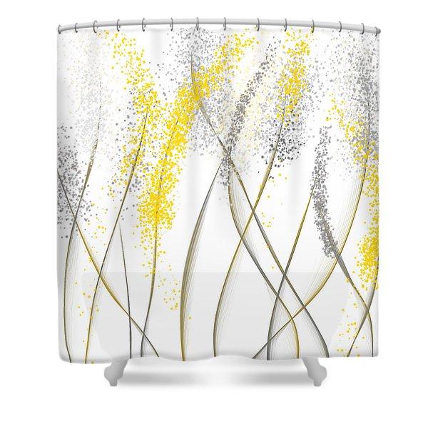 Neutral Sunshine - Yellow And Gray Modern Art Shower Curtain