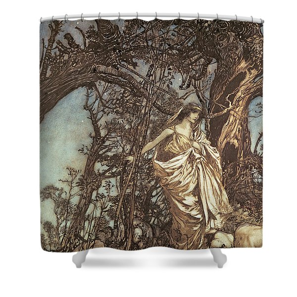 Never So Weary Never So Woeful Illustration To A Midsummer Night S Dream Shower Curtain