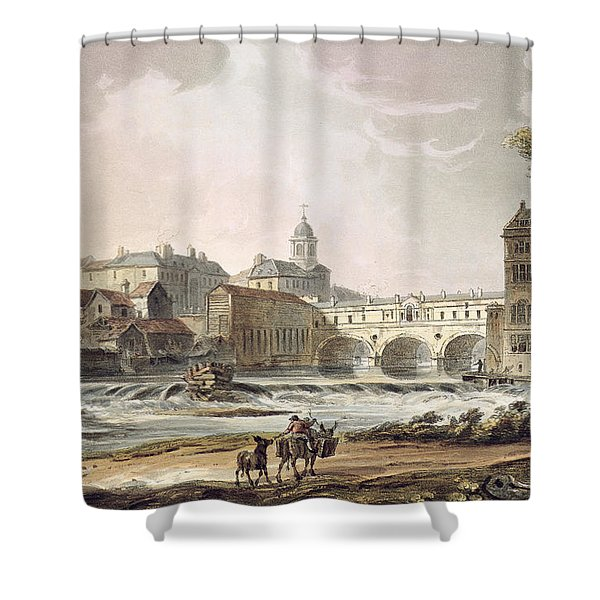 New Bridge, From Bath Illustrated Shower Curtain