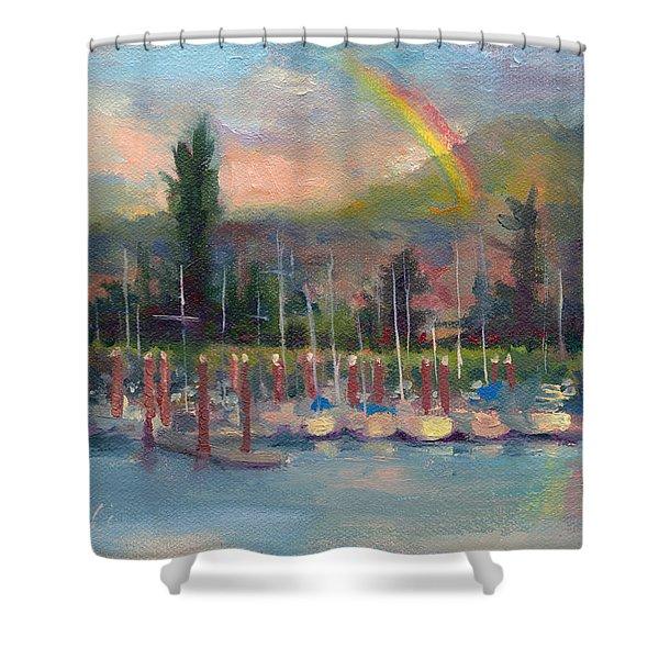 New Covenant - Rainbow Over Marina Shower Curtain