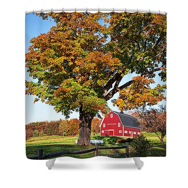 New England Farm Fall Foliage Shower Curtain