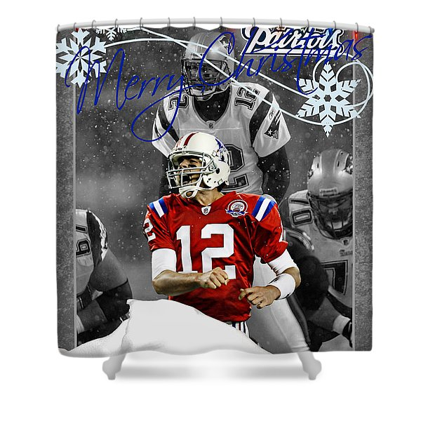 New England Patriots Christmas Card Shower Curtain