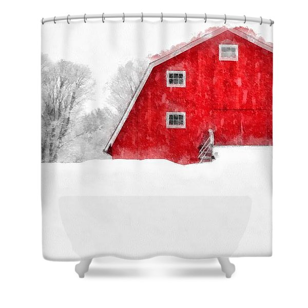 New England Red Barn In Winter Snow Storm Watercolor Shower Curtain