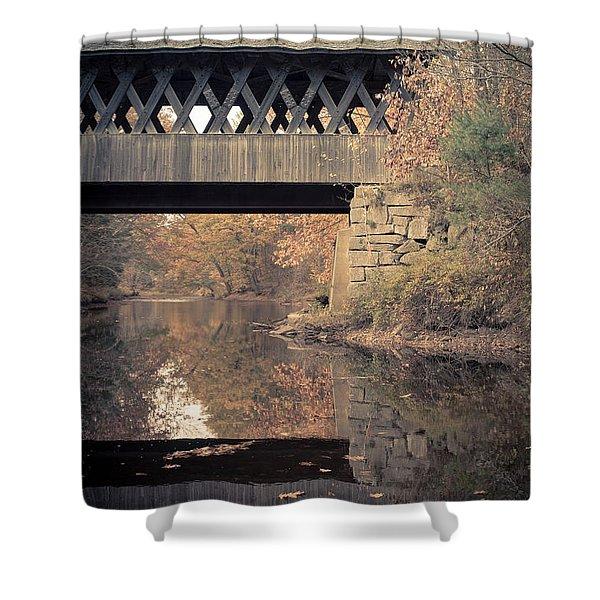 New Hampshire Covered Bridge Autumn Shower Curtain