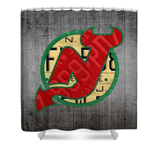 New Jersey Devils Hockey Team Retro Logo Vintage Recycled Garden State License Plate Art Shower Curtain