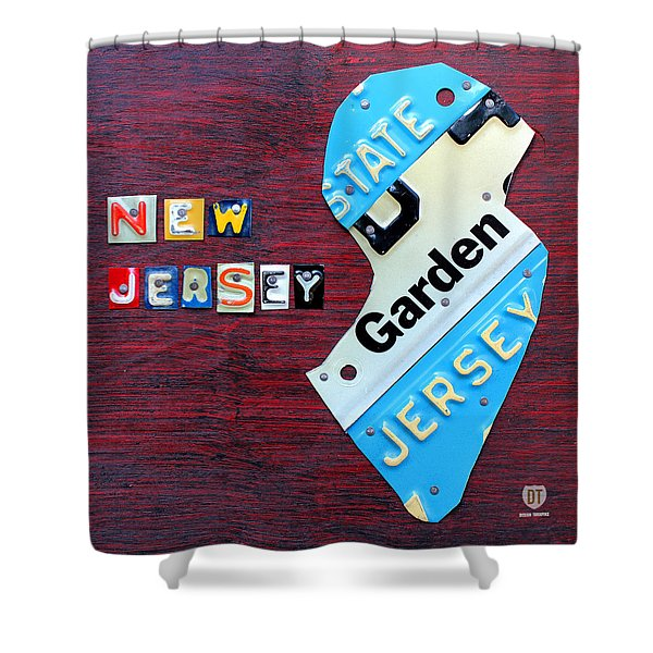 New Jersey License Plate Map Shower Curtain