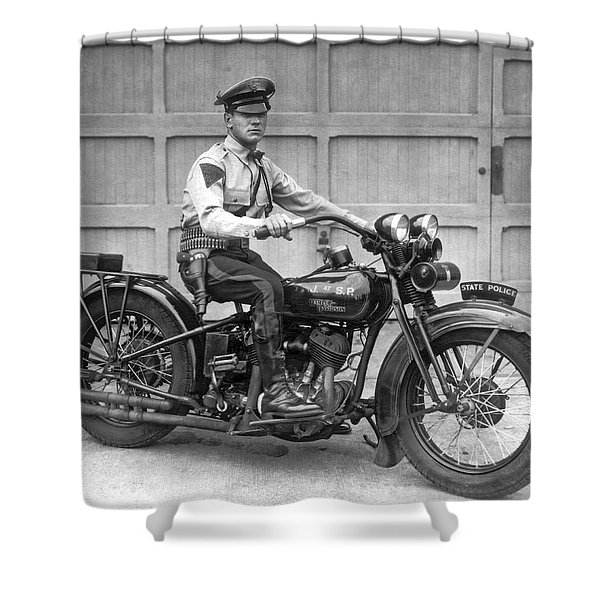 New Jersey Motorcycle Trooper Shower Curtain