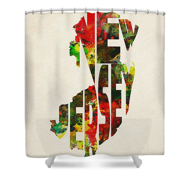 New Jersey Typographic Watercolor Map Shower Curtain