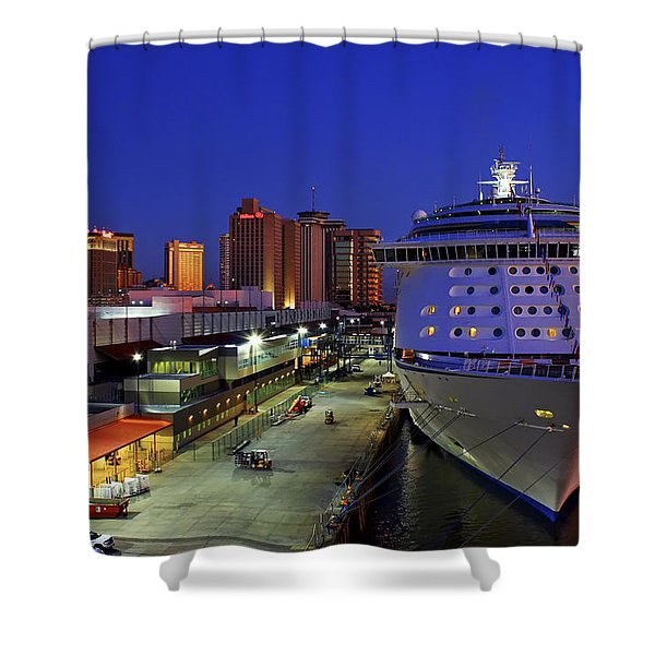 New Orleans Skyline With The Voyager Of The Seas Shower Curtain
