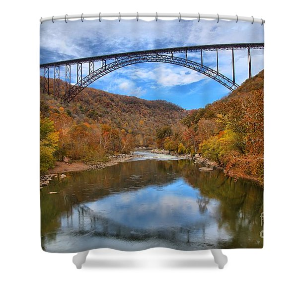 New River Gorge Reflections Shower Curtain