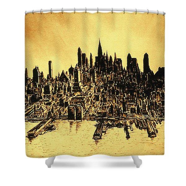 New York Skyline 78 - Mid Manhattan Ink Watercolor Painting Shower Curtain