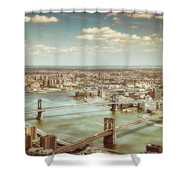 New York City - Brooklyn Bridge And Manhattan Bridge From Above Shower Curtain