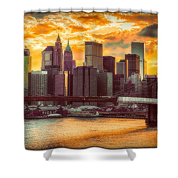 New York City Summer Panorama Shower Curtain