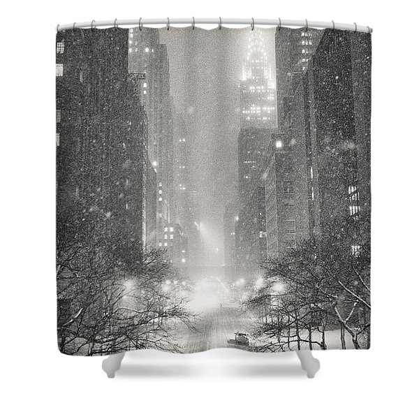 New York City - Winter Night Overlooking The Chrysler Building Shower Curtain