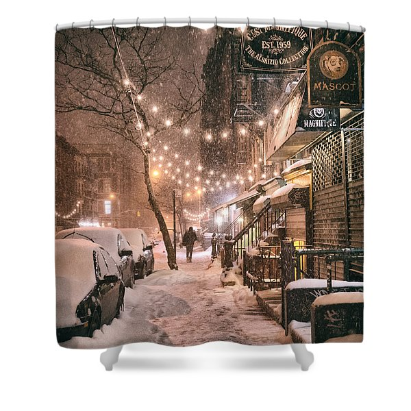 New York City - Winter Snow Scene - East Village Shower Curtain