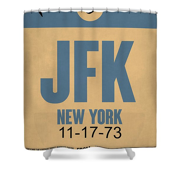 New York Luggage Tag Poster 2 Shower Curtain