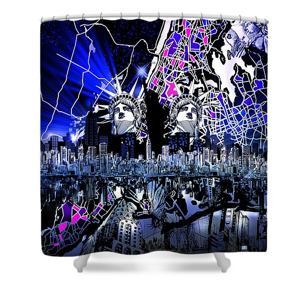 New York Map Abstract 4 Shower Curtain