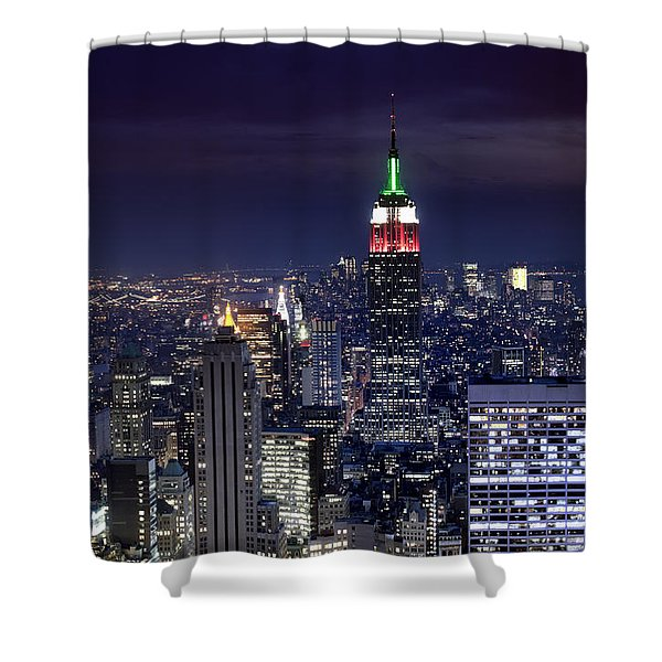 New York Skyline Night Color Shower Curtain