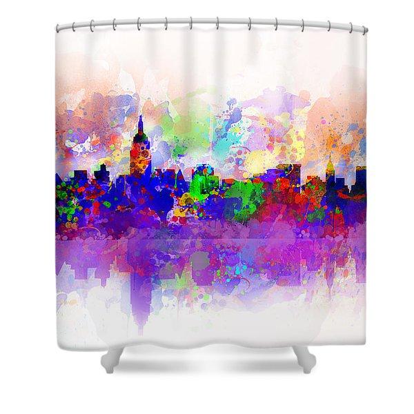 New York Skyline Splats 3 Shower Curtain