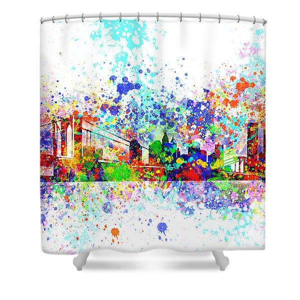 New York Skyline Splats Shower Curtain