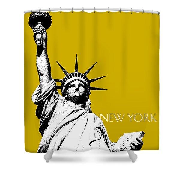 New York Skyline Statue Of Liberty - Gold Shower Curtain