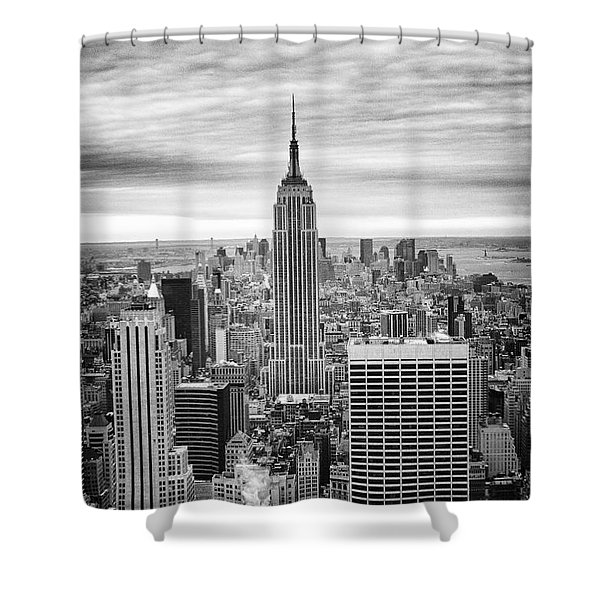 Black And White Photo Of New York Skyline Shower Curtain