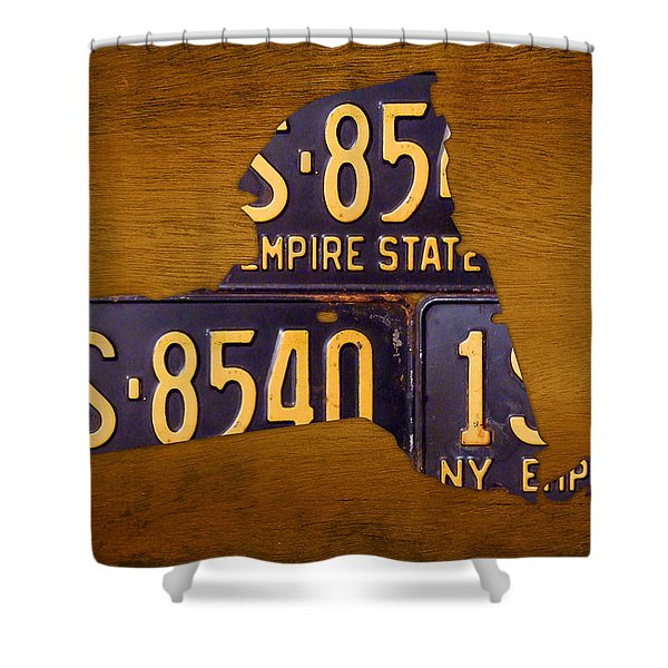 New York State License Plate Map - Empire State Orange Edition Shower Curtain