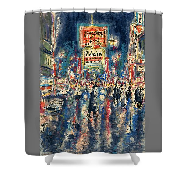 New York Times Square 79 - Watercolor Art Painting Shower Curtain