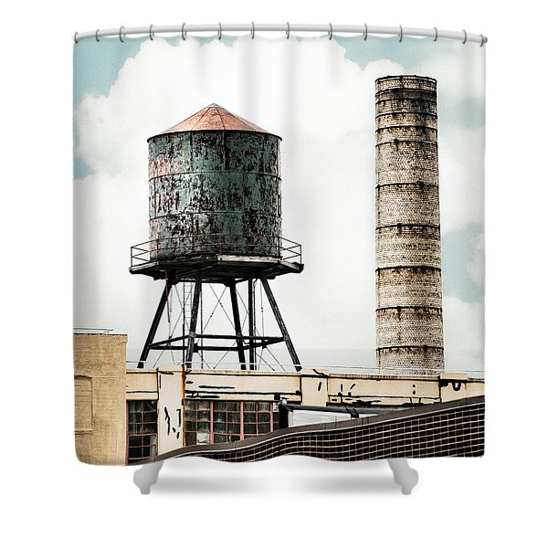 Water Tower And Smokestack In Brooklyn New York - New York Water Tower 12 Shower Curtain