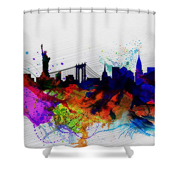 New York  Watercolor Skyline 1 Shower Curtain