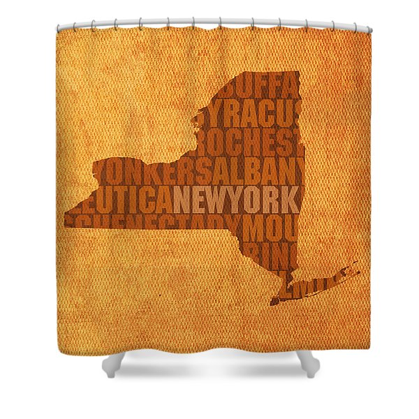 New York Word Art State Map On Canvas Shower Curtain