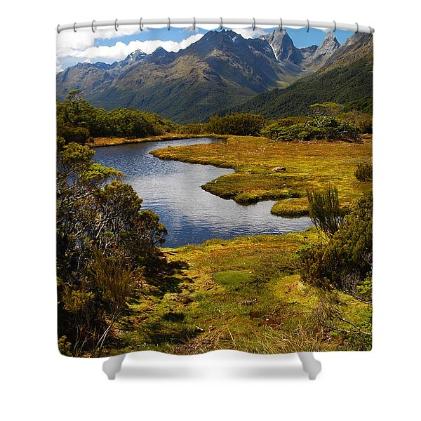 New Zealand Alpine Landscape Shower Curtain