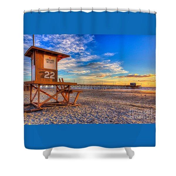 Newport Beach Pier - Wintertime  Shower Curtain