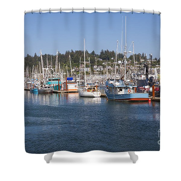 Shower Curtain featuring the photograph Newport Marina by Bryan Mullennix