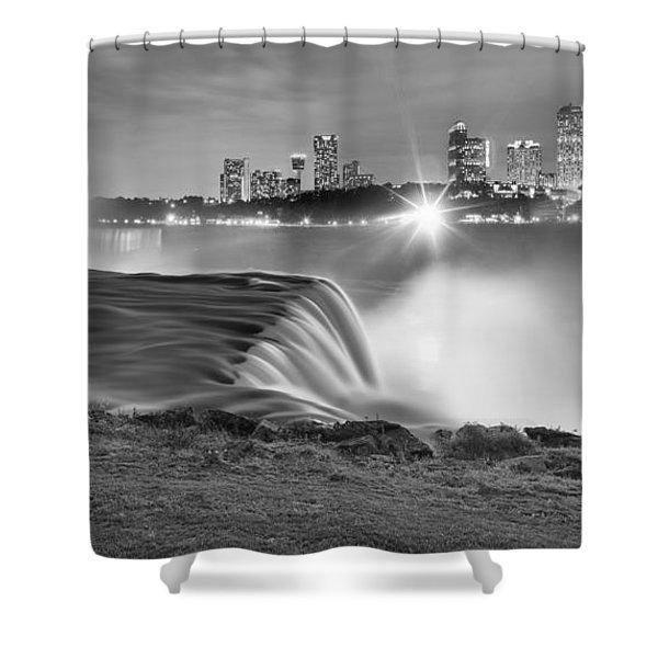 Niagara Falls Black And White Starbursts Shower Curtain