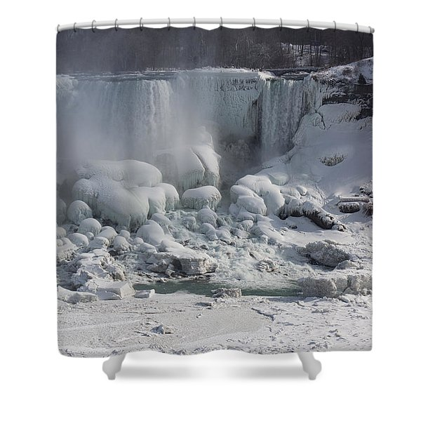 Niagara Falls Ice Buildup - American Falls New York State U S A Shower Curtain