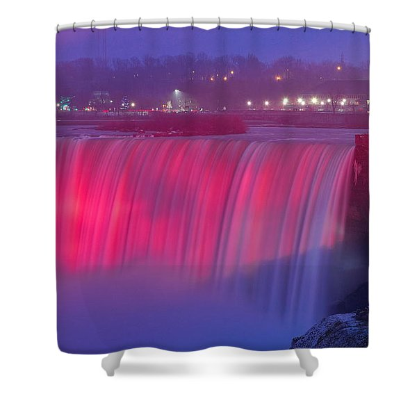 Niagara Falls Pretty In Pink Lights. Shower Curtain